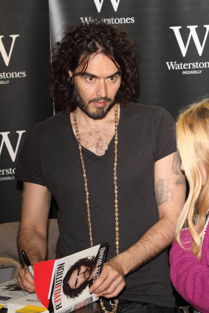 Russell Brand Book Signing Revolution and The Pied Piper London UK Russell Brand signs copies of b